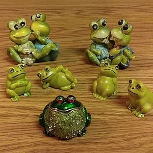 Frog Playing Guitar Jewelry Trinket Box Earrings Necklace Storage Animal Figure